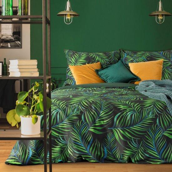 Palms POŚCIEL SATYNOWA z motywem liści bananowca 160x200 70x80 cm - 160 X 200 cm, 2 szt. 70 X 80 cm