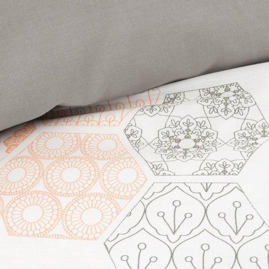 Komplet pościeli satyna bawełniana 220x200+2szt. 70x80 nadruk pastelowy plaster miodu - 220x200