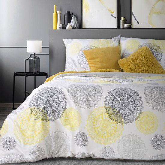 Komplet pościeli z satyny bawełnianej 220x200 cm, 2 szt. 70x80 cm nadruk szaro-żółte mandale - 220x200 - biały / grafitowy