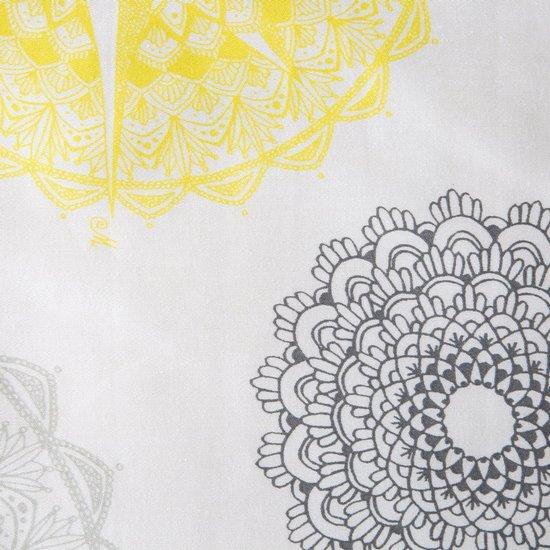Komplet pościeli z satyny bawełnianej 220x200 cm, 2 szt. 70x80 cm nadruk szaro-żółte mandale - 220x200