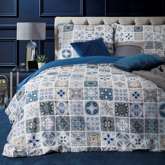 Komplet pościeli satynowej 220 x 200 cm, 2szt. 70 x 80 cm, biała niebieska, azul - 220x200