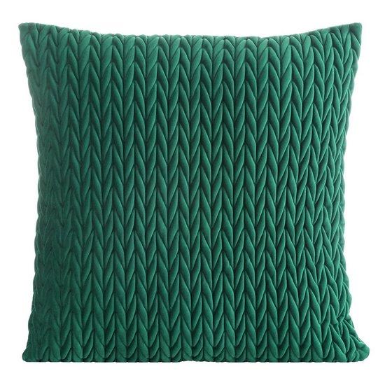 Poszewka na poduszkę 45 x 45 cm z oryginalnym motywem plecionki zielona  - 45 X 45 cm - zielony