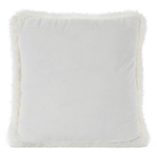 Poszewka na poduszkę 45 x 45 cm kremowa z futerkowym obszyciem  - 45x45