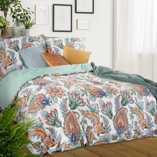 Komplet pościeli  bawełnianej 160 x 200 cm, 2 szt. 70 x 80 styl boho bawełna hiszpańska - 160x200 - biały / czerwony / pomarańczowy / żółty