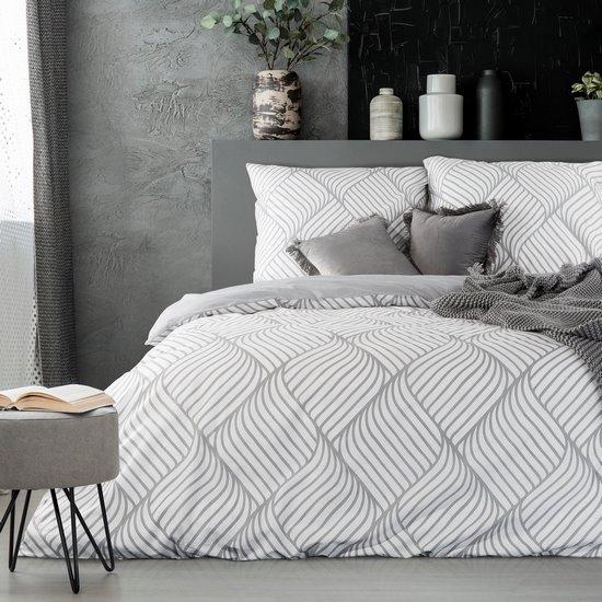Komplet pościeli z bawełny 160x200 cm, 2 szt. 70x80 cm nowoczesny symetryczny wzór - 160 X 200 cm, 2 szt. 70 X 80 cm - stalowy/biały