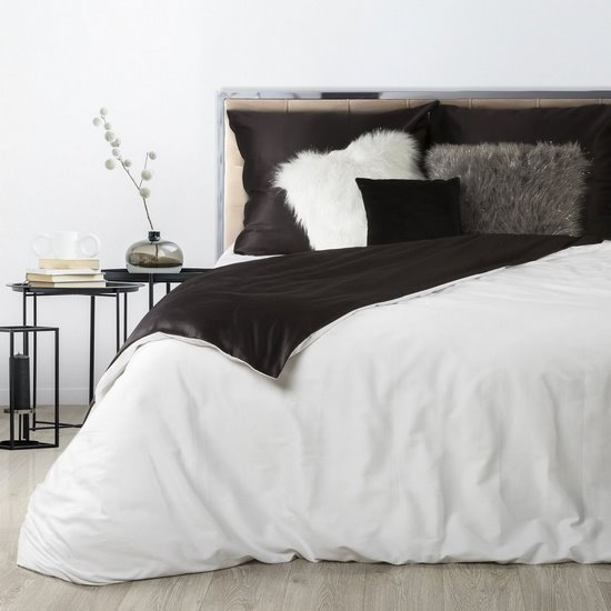 Komplet pościeli z makosatyny bawełnianej 220 x 200 cm, 2szt. 70 x 80 cm, biało -czarny - 220 X 200 cm, 2 szt. 70 X 80 cm - biały/czarny