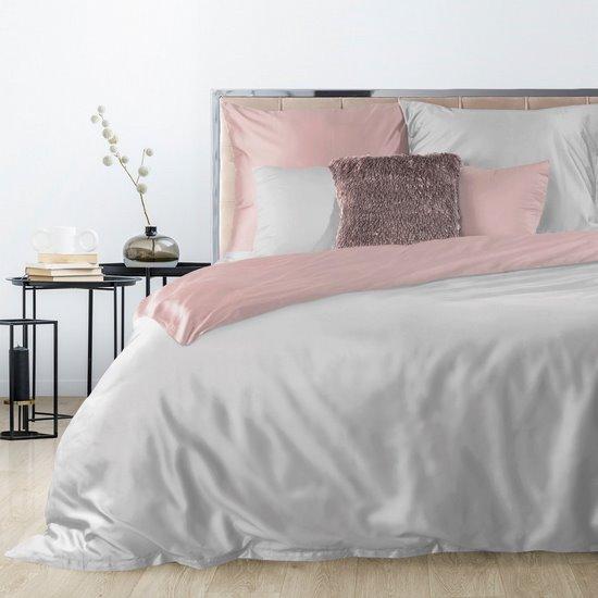 Komplet pościeli z makosatyny bawełnianej 180 x 200 cm, 1szt. 70 x 80 cm, popielaty+pudrowy róż - 180 X 200 cm, 2 szt. 70 X 80cm - jasnoszary/pudrowy