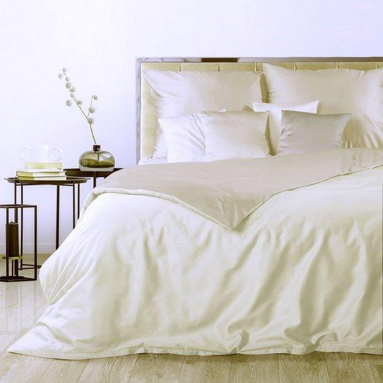 Dwustronna pościel makosatyna bawełniana 220 x 200+ 2szt. 70x80 cm kremowo-beżowa - 220 X 200 cm, 2 szt. 70 X 80 cm - kremowy/beżowy