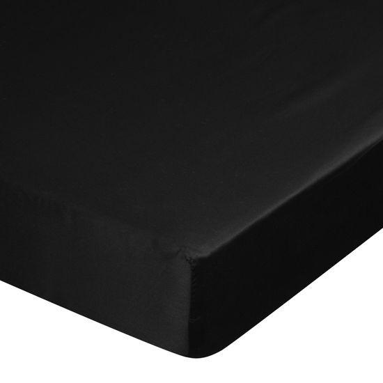 Prześcieradło z makosatyny gładkie 160x200+30cm kolor czarny - 160 X 200 cm, wys.30 cm