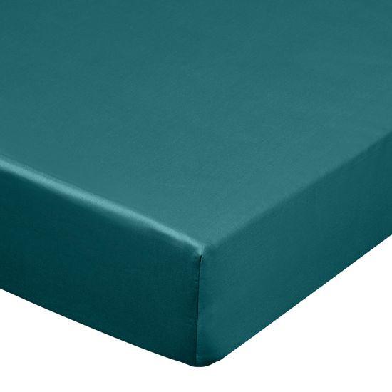 Prześcieradło z makosatyny gładkie 100x200+25cm kolor turkusowy - 100 X 200 cm, wys.25 cm
