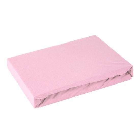 Prześcieradło bawełniane gładkie 220x200+25cm 160 kolor różowy - 220 x 200 cm, wys.25 cm