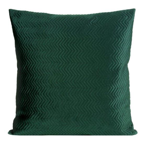 Poszewka dekoracyjna na poduszkę 45 x 45 kolor c.zielony - 45 X 45 cm - ciemnozielony