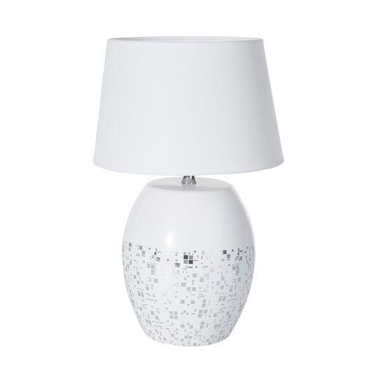 BLAZE BIAŁA LAMPA STOŁOWA  CERAMICZNA  Z MATOWYM ABAŻUREM 18x18x41 cm - 18 X 18 X 41 cm