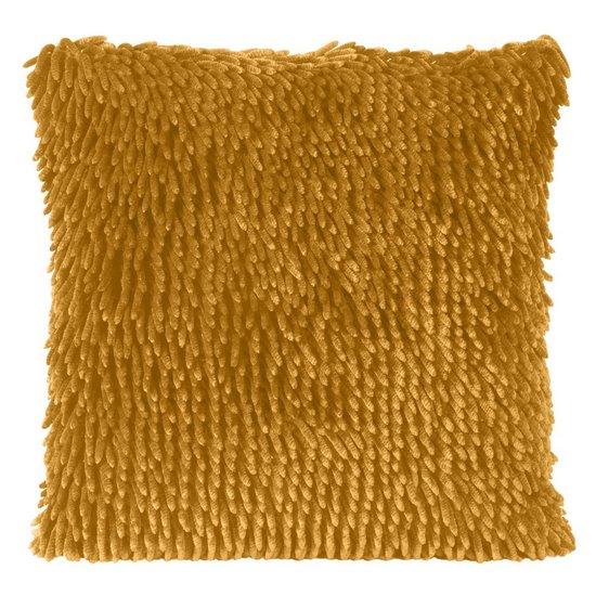 Poszewka na poduszkę włosie shaggy musztardowa 40 x 40 cm  - 40x40