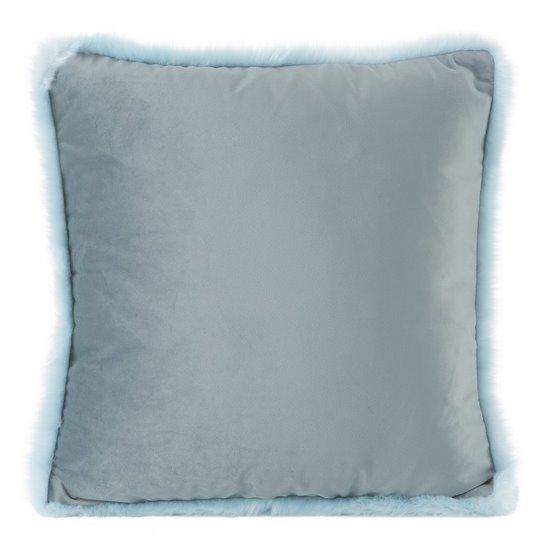 Poszewka na poduszkę 45 x 45 cm niebieska z futerkowym obszyciem  - 45x45 - niebieski