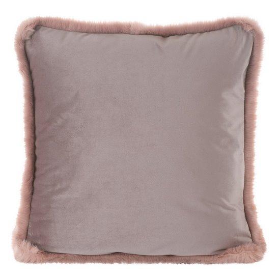 Poszewka na poduszkę 45 x 45 cm różowa z futerkowym obszyciem  - 45x45 - pudrowy