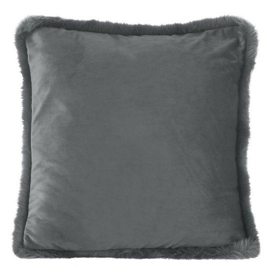 Poszewka na poduszkę 45 x 45 cm szara z futerkowym obszyciem  - 45x45