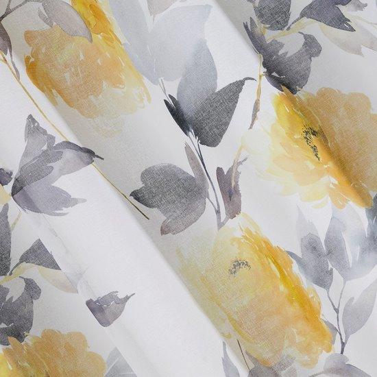 Zasłona w kwiaty na przelotkach 140 x 250 cm kwiaty żółto biała - 140 X 250 cm - żółty/stalowy