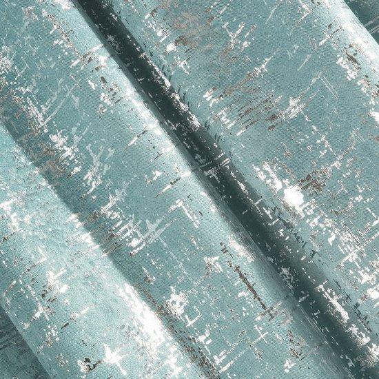 Miętowa ZASŁONA ZACIEMNIAJĄCA ESIN velvet srebrny nadruk 140x270 cm  - 135 X 270 cm