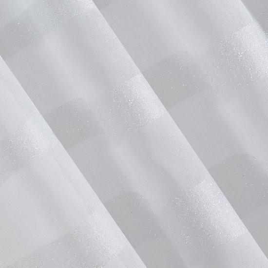 Zasłona gotowa na przelotkach 140 x 250 cm biała wzbogacona moherową nicią  - 140 X 250 cm