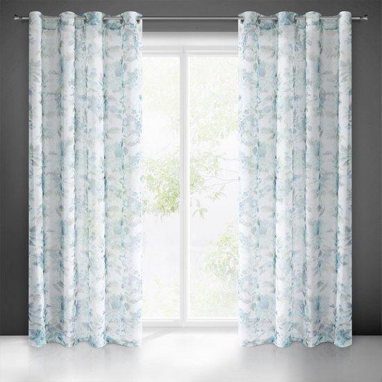 Biała zasłona kwiatowy turkusowy wzór 140x250 na przelotkach - 140x250 - niebieski