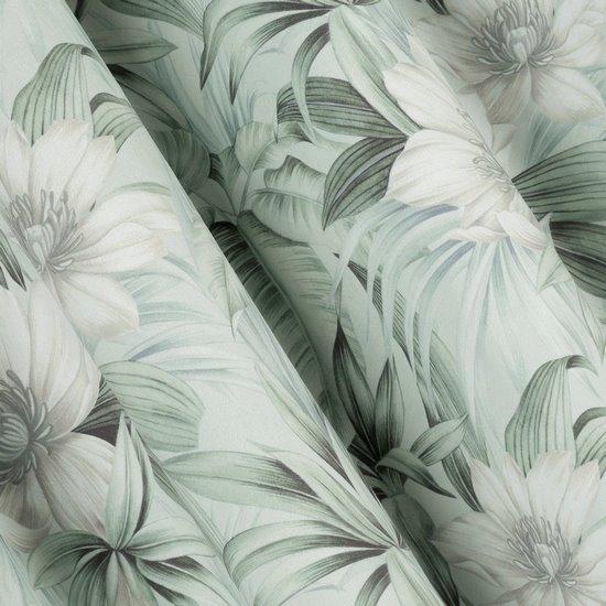 Zasłona welwetowa z roślinnym nadrukiem 140x250 cm przelotki - 140x250 - kremowy / zielony