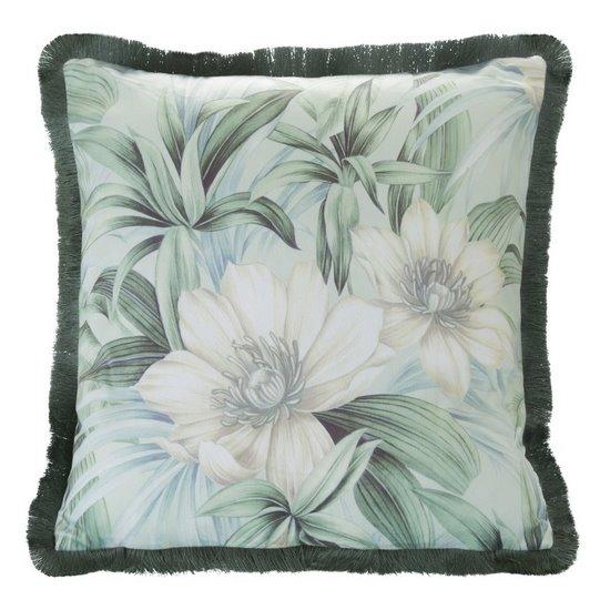 Poszewka welwetowa nadruk kwiatowy frędzle mi x kolorów 45 x 45cm - 45 X 45 cm - zielony / kremowy