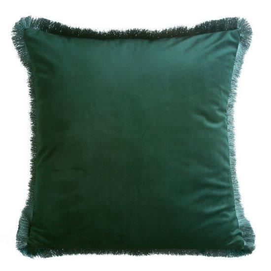 Poszewka welwetowa zdobiona frędzlami ciemna zieleń 45 x 45cm - 45x45 - zielony