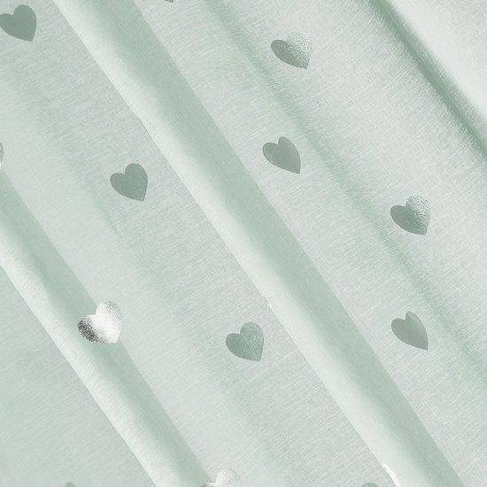 Miętowa firana ze srebrnymi sercami na przelotkach 140x250 - 140 X 250 cm - miętowy/srebrny