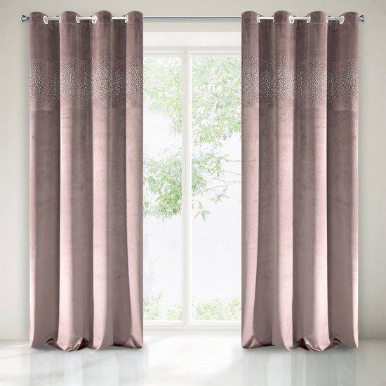 Zasłona welwetowa ciemno różowa z kryształkami 140x250 cm przelotki - 140x250 - różowy