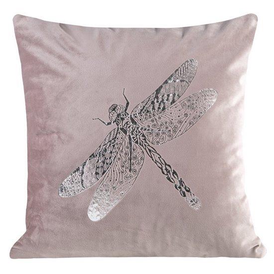 Poszewka na poduszkę różowa ze srebrną ważką 45 x 45 cm  - 45 X 45 cm - różowy