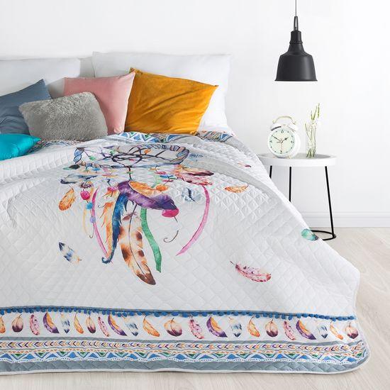 Narzuta łapacz snów modny styl boho żywe kolory 200x220cm - 200 X 220 cm - biały/mix kolorów