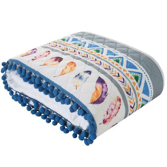 Narzuta łapacz snów modny styl boho żywe kolory 200x220cm - 200x220 - biały / niebieski / żółty
