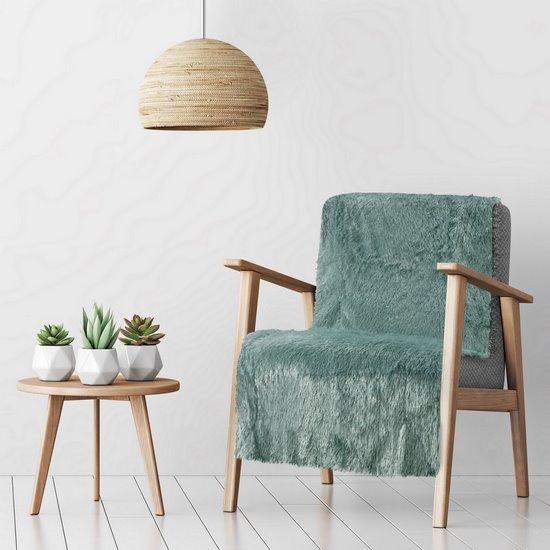Koc o strukturze miękkiego futra na fotel miętowy 70x150cm - 70 X 160 cm