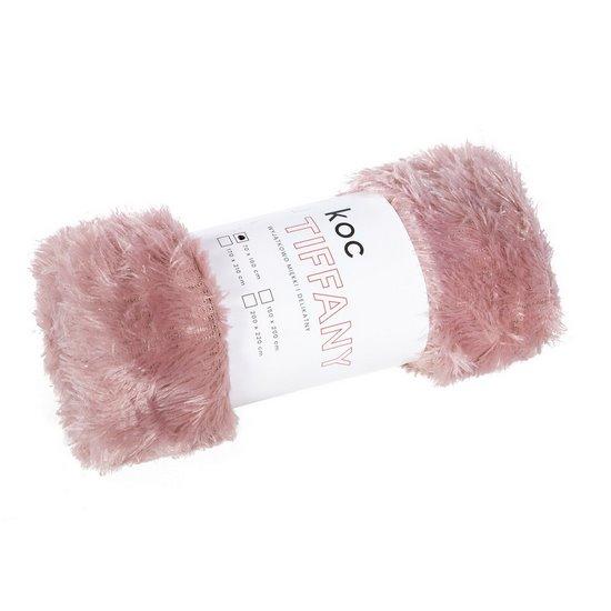 Koc o strukturze miękkiego futra delikatny różowy 150x200cm - 150x200