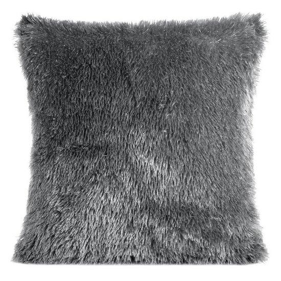 Poszewka z miękkiego futerka stalowy 40x40cm - 40 X 40 cm - stalowy/srebrny