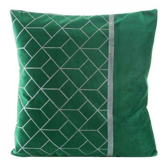 Poszewka welwetowa zielona z błyszczącym nadrukiem 45 x 45cm - 45 X 45 cm - zielony/złoty