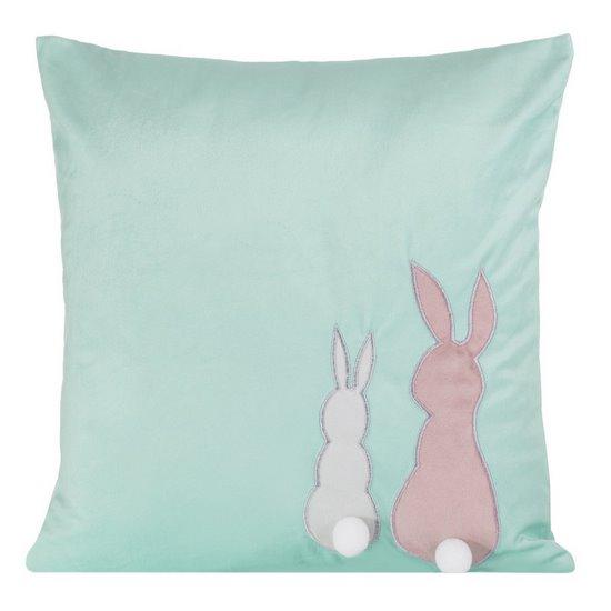 Poszewka na poduszkę miętowo-różowa z królikami 40 x 40 cm  - 40x40 - różowy