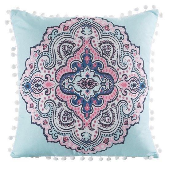 Poszewka na poduszkę orientalny wzór niebiesko różowa 40 x 40 cm  - 40x40