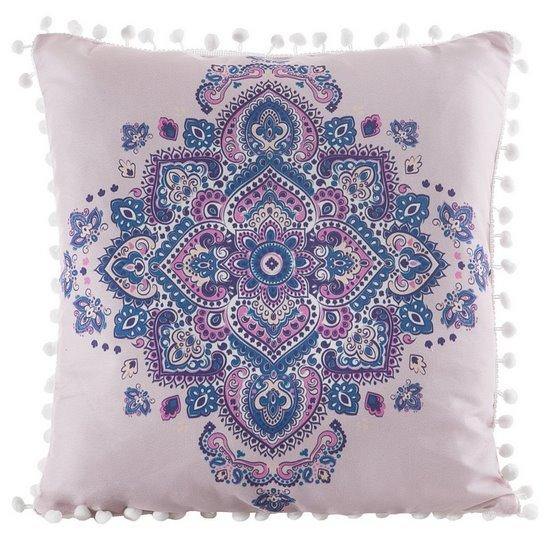 Poszewka na poduszkę orientalny wzór różowo niebieska 40 x 40 cm  - 40x40 - różowy / niebieski