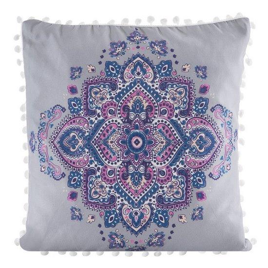 Poszewka na poduszkę orientalny wzór srebrno różowa 40 x 40 cm  - 40x40