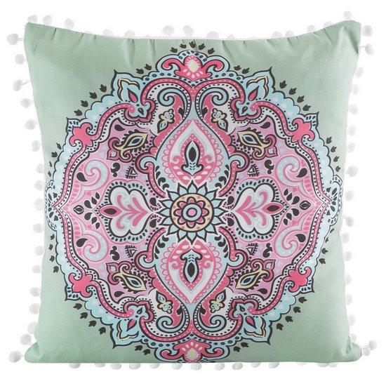 Poszewka na poduszkę orientalny wzór zielono różowa 40 x 40 cm  - 40x40 - zielony / różowy