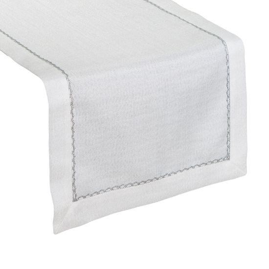 Biały bieżnik do jadalni ze srebrną koronką 40x140 cm - 40 X 140 cm - ecru/srebrny