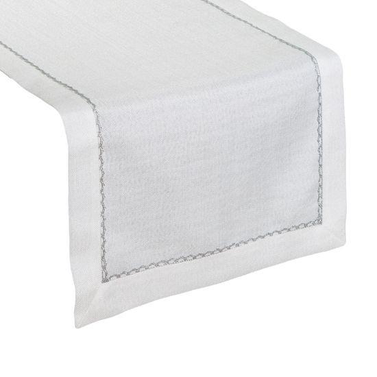 Biały bieżnik do jadalni srebrna koronka 40x180 cm - 40 X 180 cm