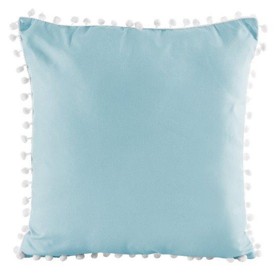 Poszewka na poduszkę gładka niebieska z pomponami 40 x 40 cm  - 40x40