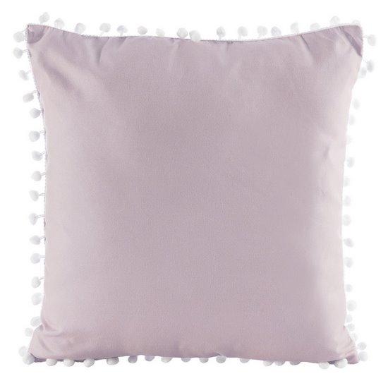 Poszewka na poduszkę gładka różowa z pomponami 40 x 40 cm  - 40x40