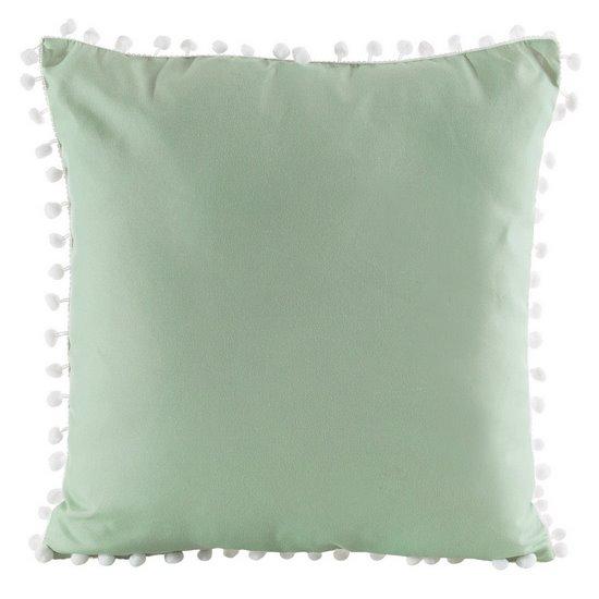 Poszewka na poduszkę gładka zielona z pomponami 40 x 40 cm  - 40x40