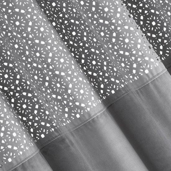 ZASŁONA WELWETOWA z ażurowym wzorem STALOWY 140x250 cm - 140x250