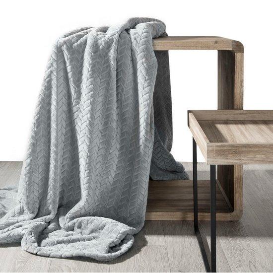 Koc miękki i miły w dotyku na fotel z efektem 3D srebrny 70x160cm - 70 X 160 cm