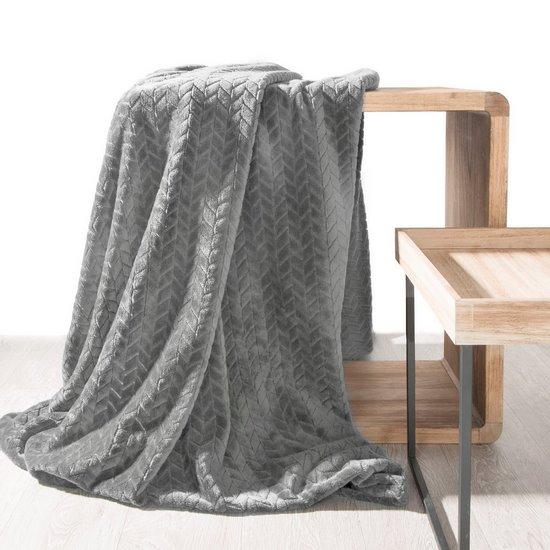Koc miękki i miły w dotyku na fotel z efektem 3D stalowy 70x160cm - 70 X 160 cm